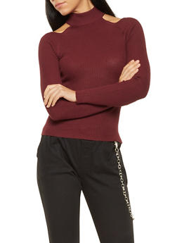 Ribbed Knit Cut Out Sweater - 3020015050024