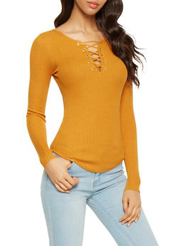 Lace Up Ribbed Knit Sweater - 3020015050031