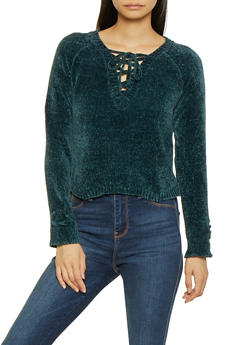 Lace Up High Low Sweater - 3020015050033
