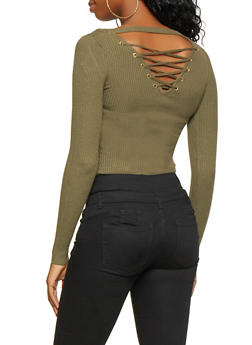 Lace Up Back Sweater - 3020015050038