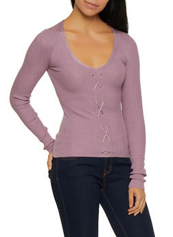 Rib Knit Lace Up Sweater - 3020015050526