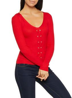 Rib Knit Lace Up Sweater - 3020015050526