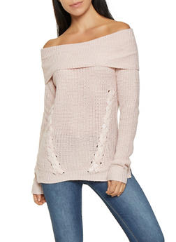 Lace Up Off the Shoulder Sweater - 3020015050530