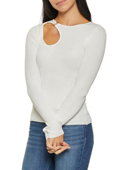 Ribbed Knit Cut Out Sweater - 3020015050531