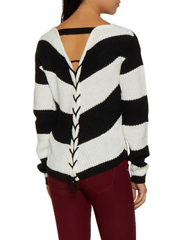 Lace Up Back Striped Knit Sweater - 3020015051006