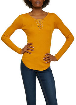 Ribbed Lace Up Sweater - 3020015051017