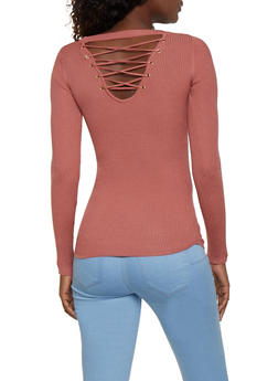 Solid Lace Up Back Sweater - 3020015051019