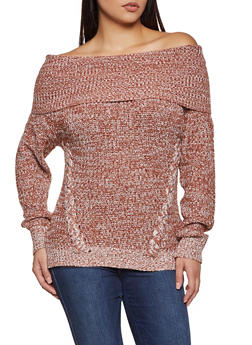 Marled Off the Shoulder Sweater - 3020015051024