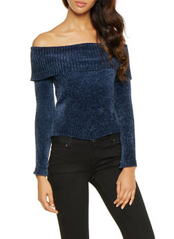 Long Sleeve Off the Shoulder Sweater - 3020015051036