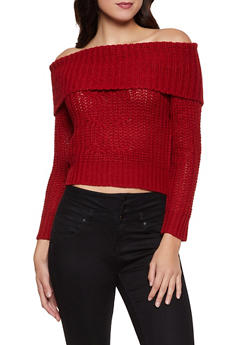 Off the Shoulder Lace Up Back Sweater - 3020015051122
