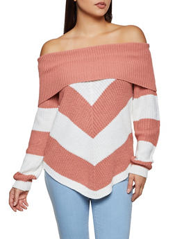 Chevron Lace Up Back Off the Shoulder Sweater - 3020015051127