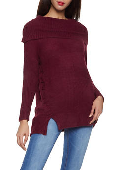 Lace Up Fold Over Sweater - 3020034280768