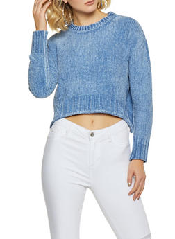 Long Sleeve Crew Neck Chenille Sweater - 3020034281042
