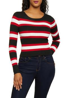 Long Sleeve Striped Sweater - 3020034281845