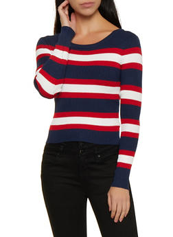 Long Sleeve Striped Sweater - 3020034281845