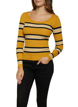 Striped Scoop Neck Sweater - 3020034281868