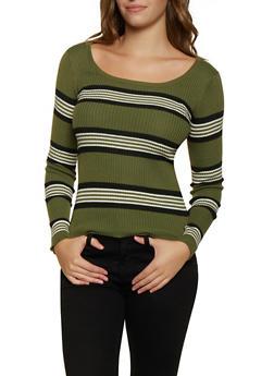 Striped Scoop Neck Sweater - 3020034281868