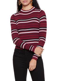 Striped Mock Neck Sweater | 3020034281888 - 3020034281888