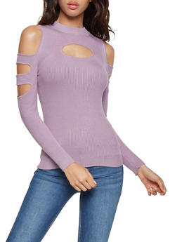 Slashed Sleeve Cold Shoulder Sweater - 3020038340102