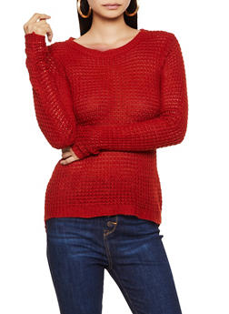 Long Sleeve High Low Knit Sweater - 3020038344102