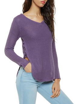 Lace Up Open Side Sweater - 3020038344108