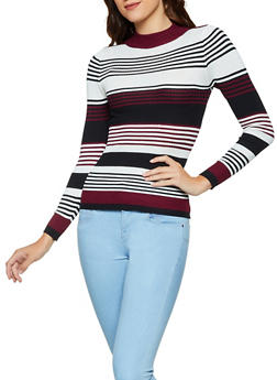 Striped Mock Neck Sweater | 3020038344422 - 3020038344422