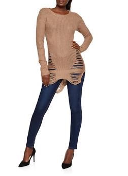 Distressed Tunic Sweater - 3020038345105