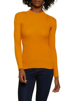 Solid Mock Neck Sweater - 3020038345427