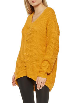 V Neck Tunic Sweater - 3020038346116