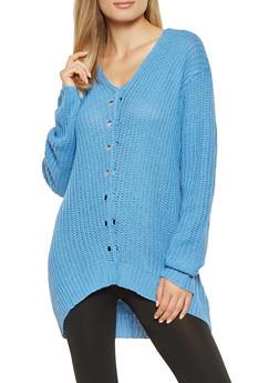 V Neck Tunic Sweater - 3020038346116