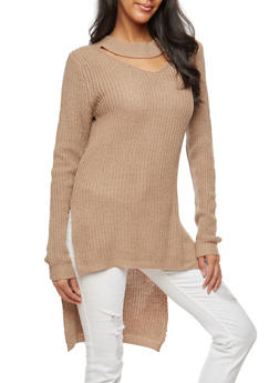 Long Sleeve High Low Choker Neck Sweater - 3020038347122