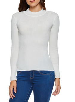 Mock Neck Ribbed Sweater - 3020038347427