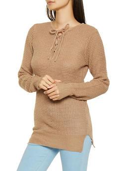 Lace Up Knit Sweater - 3020038348104