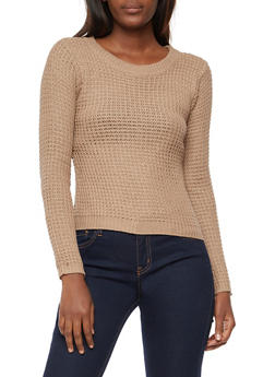 Long Sleeve Waffle Knit High Low Sweater - 3020038348105