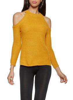 Knit Cold Shoulder Sweater - 3020038348106