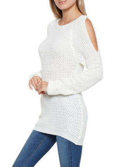 Cold Shoulder Knit Sweater - 3020038348107