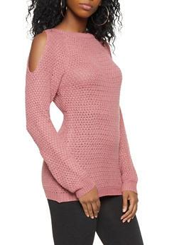 Cold Shoulder Knit Sweater - 3020038348107