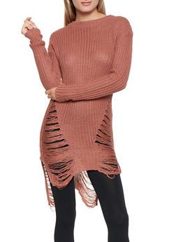Slashed Tunic Sweater - 3020038348110