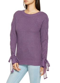 Lace Up Sleeve Knit Sweater - 3020038348111