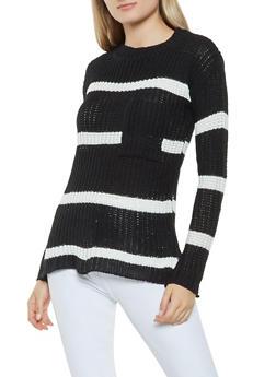 Striped Crew Neck Sweater - BLACK - 3020038348115