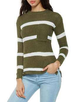 Striped Crew Neck Sweater - 3020038348115