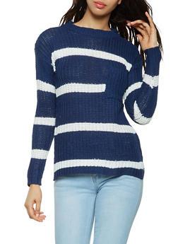 Striped Crew Neck Sweater - 3020038348115