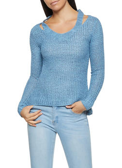 Cut Out Waffle Knit Sweater - 3020038348117