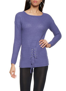 Lace Up Waist Sweater - 3020038348119