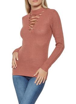Lace Up Choker Neck Sweater - 3020038348120