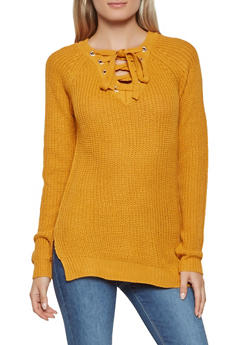 Lace Up Sweater - 3020038348121