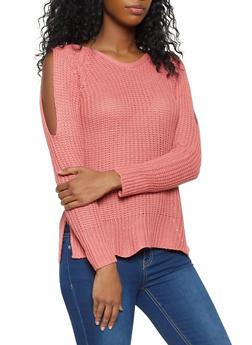 Slit Sleeve Lace Up Back Sweater - 3020038348122