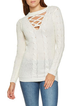 Lace Up Cable Knit Sweater - 3020038348124