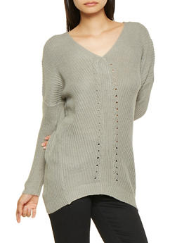High Low V Neck Sweater - 3020038348128