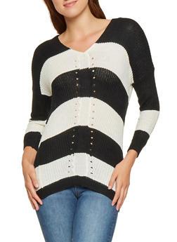 Striped Knit Sweater - 3020038348129